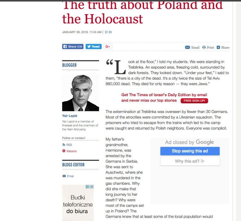 Scren z bloga Jaira Lapida na stronie Times of Israel.