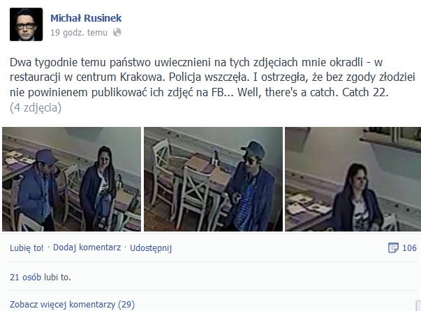 Złodzieje ukradli pieniądze z portfela Michała Rusinka