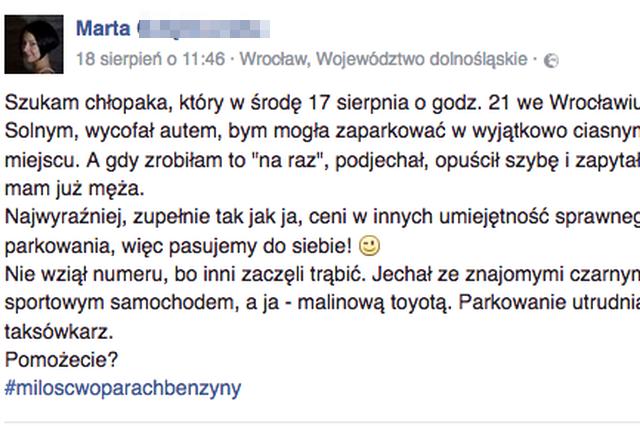 Marta z Wrocławia szuka chłopaka, który pomógł jej w parkowaniu.