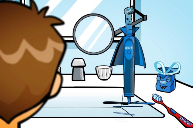 Gadająca szczoteczka Kapitan Mega Czyścioch, instruktor filmu uczącego dzieci prawidłowego dbania o higienę jamy ustnej