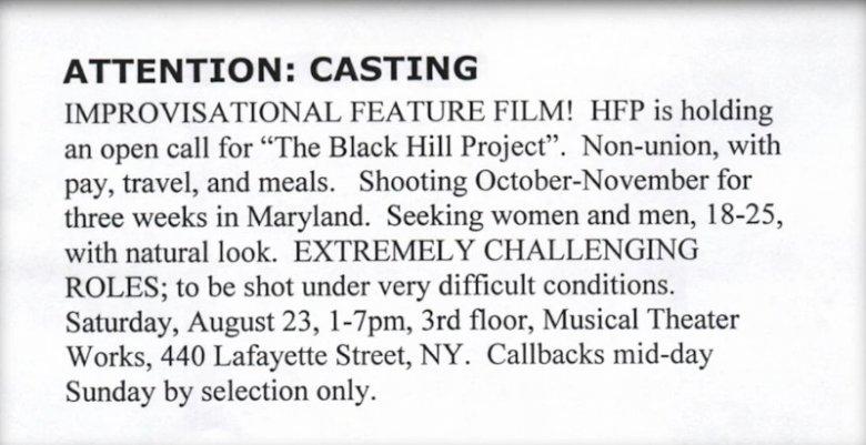 """Tak wyglądało ogłoszenie zapraszające na casting do """"The Blair Witch Project""""."""