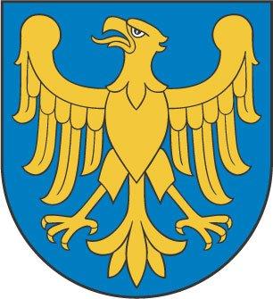 Herb Województwa Śląskiego przedstawia złotego orła Piastów górnośląskich bez korony, zwróconego w prawo, na niebieskim tle.