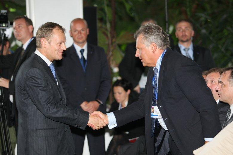 Donald Tusk i Aleksander Kwaśniewski podczas Forum Ekonomicznego w Krynicy w 2008 roku