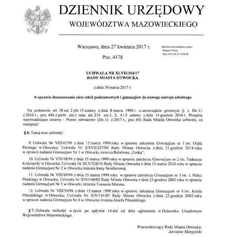 Uchwała Rady Miasta Otwocka z dnia 30.03.2017 ws. uchylenia uchwał powołujących gimnazja w Otwocku z 1999 roku