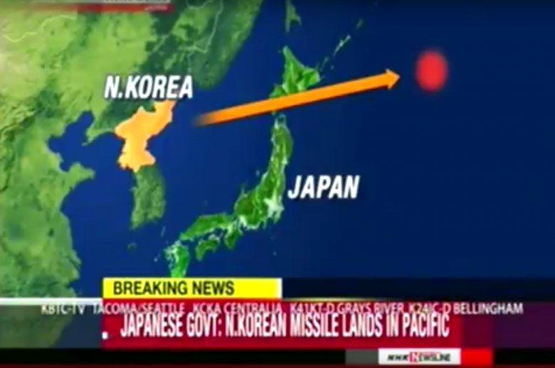 Pocisk przeleciał nad północną częścią Japonii i wpadł do oceanu.