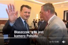 """Minister środowiska Jan Szyszko wręczył ministrowi Mariuszowi Błaszczakowi kopertę mówiąc: """"To jest taka córka leśniczego..."""""""