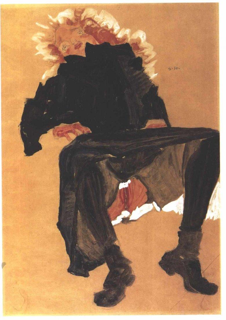 Egon Schiele, Liegendes Mädchen in dunkelblauem Kleid, 1910
