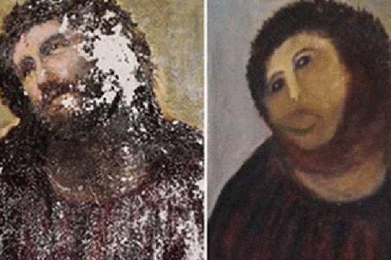 """Zniszczone dzieło przynosi ogromne dochody. """"Jeżus"""" z Borji zarobił już ponad 50 tys. euro"""