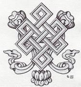 """Tzw. """"węzeł nieskończony"""", występujący w wielu kulturach (m.in. w buddyjskiej); ten węzeł matematycy oznaczają jako 74 (duża siódemka, mała czwórka)"""