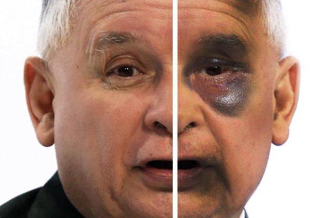 Tym razem Janusz Palikot opublikował plakat przedstawiający pobitego Jarosława Kaczyńskiego