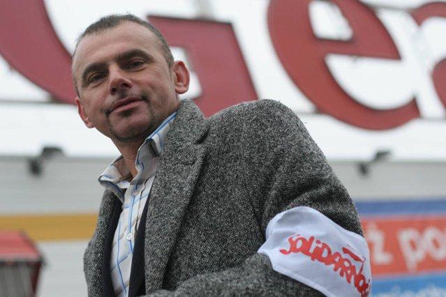 """Alfred Bujara, szef Sekcji Krajowej Pracowników Handlu NSZZ """"Solidarność""""."""