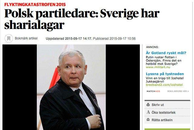"""Szwedzka gazeta pisała o bezskutecznych próbach kontaktu z prezesem PiS w sprawie jego słów o """"strefach szariatu"""""""