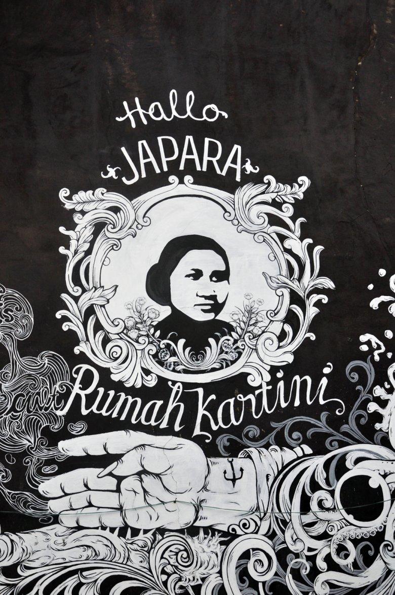 Mural Kartini z jej rodzinnego miasta Jepara