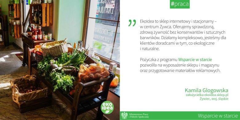 Kamila Glogowska –założycielka sklepu z ekologiczną żywnością