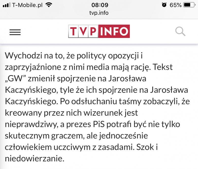Tak rządowe media tłumaczą zachowanie Jarosława Kaczyńskiego.