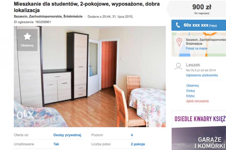 Mieszkania do wynajęcia w Szczecinie są nawet o połowę tańsze, niżw Warszawie.