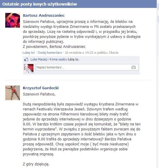 Załączam przykładowe wypowiedzi, których dużo jest na fanpage'u Warszawskiej Jesieni