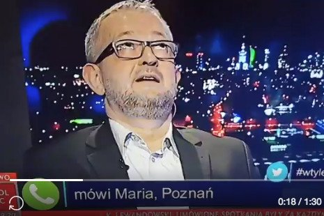 """Reakcja Rafała Ziemkiewicza, który razem z Marcinem Wolskim prowadził poniedziałkowy odcinek """"W tyle wizji"""", na wypowiedź pani Marii."""