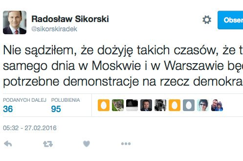 Sikorski komentuje dzisiejsze marsze w Warszawie i w Moskwie.