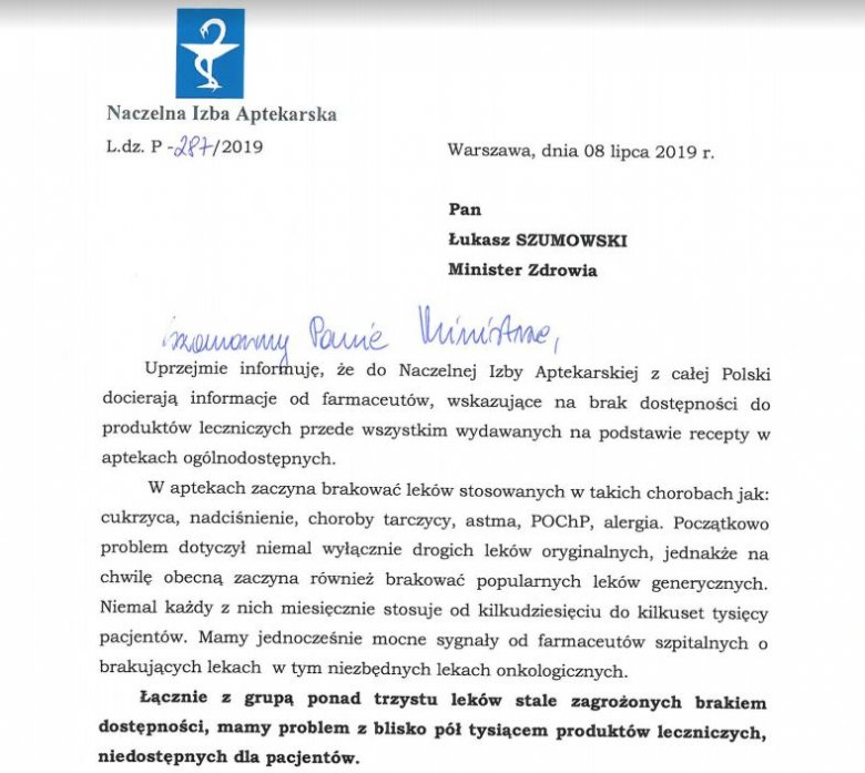 Fragment listu prezes NIA Elżbiety Piotrowskiej-Rutkowskiej do ministra zdrowia.