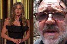 Jennifer Aniston wygłosiła przemówienie w imieniu laureata Złotego Globu - Russela Crowe'a