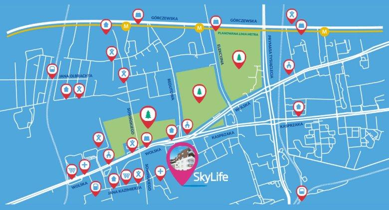Mapa lokalizacyjna jednej z warszawskich inwestycji
