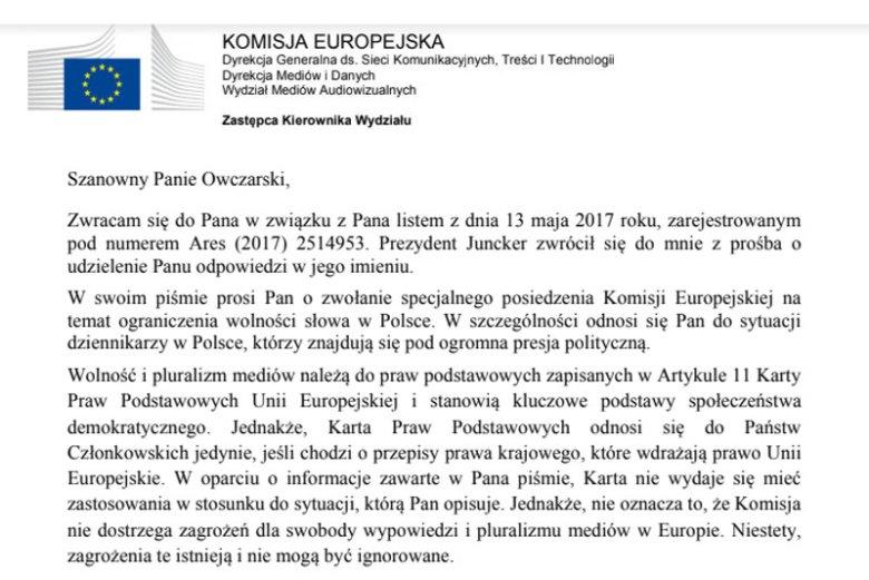 Piotr Owczarski, po tym jak go zwolniono, pomocy szukał także w Komisji Europejskiej