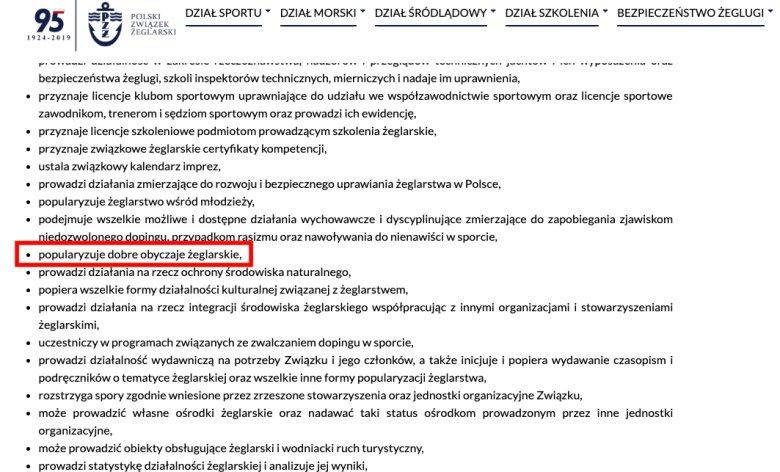 Zrzut ekranu statut PZŻ.