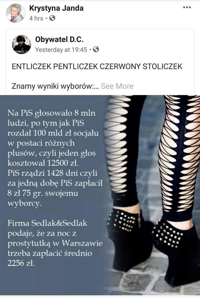 Wpis Krystyny Jandy z porównaniem wyborców PiS do prostytutek.
