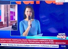 Anna Popek z TVP poprowadziła galę prezydenta z okazji podpisania ustawy o tzw. 13. emeryturze.