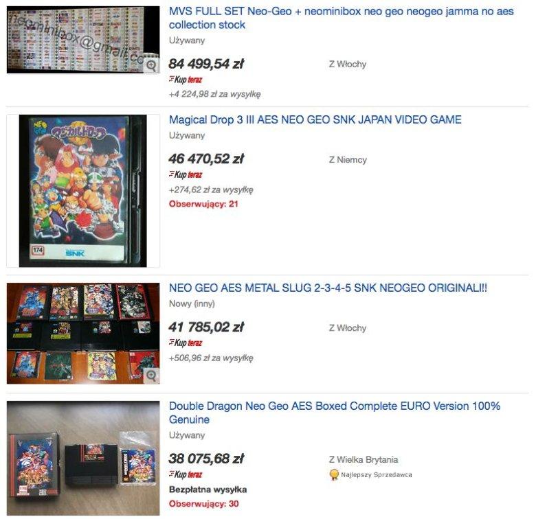 Tak, tak właśnie kształtują się ceny najdroszych gier na konsolę Neo Geo.