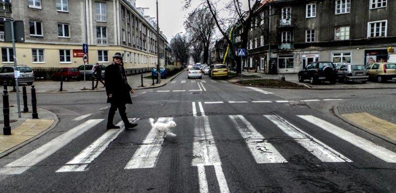 Kamil Sipowicz na spacerze z Ramonką na Bielanach w Warszawie
