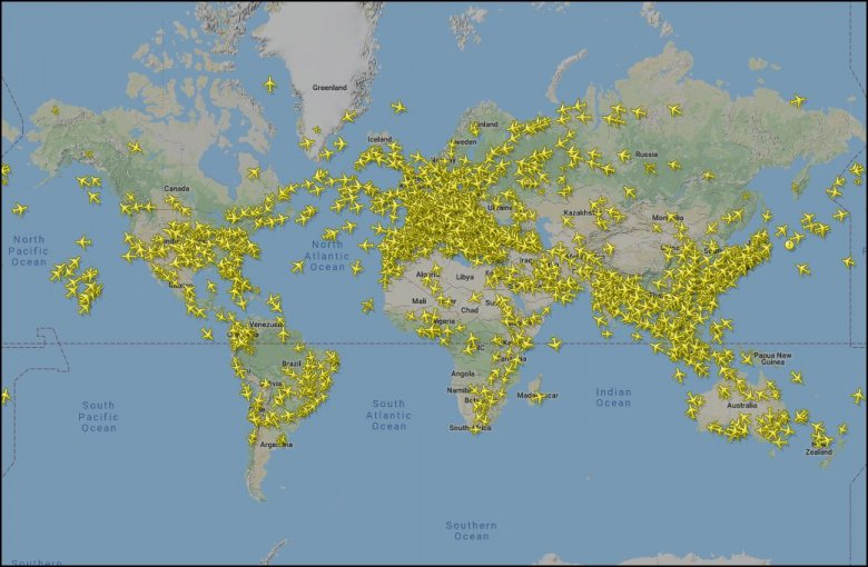 W każdym momencie nad ziemią latają tysiące samolotów