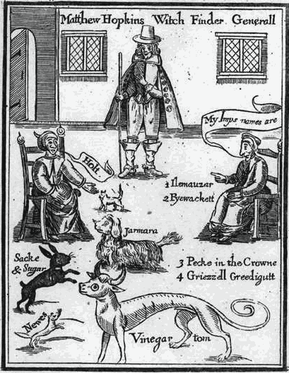 """Matthew Hopkins oraz wiedźmy identyfikujące familiariuszy - okładka """"The Discovery of Witches"""" (1647)"""