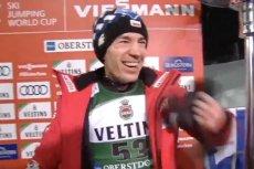Tak Kamil Stoch cieszył się po pierwszym zwycięstwie w konkursie Pucharu Świata 2018/2019.