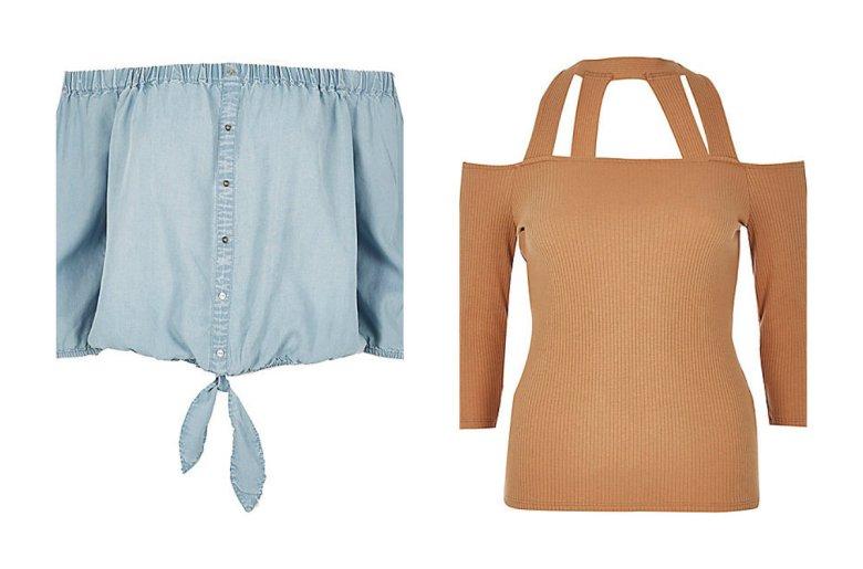 Jeansowa bluzka na guziki - River Island, około 140 zł, jerseyowa bluzka z ramiączkami - River Island, około 100 zł