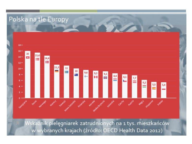 Prezentacja raportu Naczelnej Izby Pielęgniarek i Położnych na podstawie danych OECD (2012).