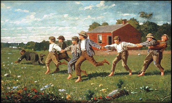 Dzieci - bezpieczna nadzieja na przyszłość w epoce gwałtownych przemian społecznych, ekspansji, industrializacji i emigracji - USA wczesny XIX wiek (Homer Winslow).