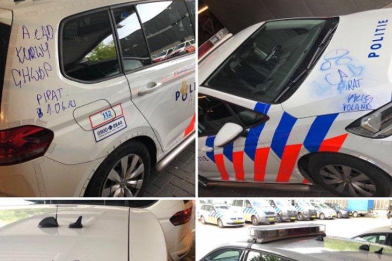 """Wandal napisał na radiowozie policji z Eindhoven m.in. """"CHWDP""""."""
