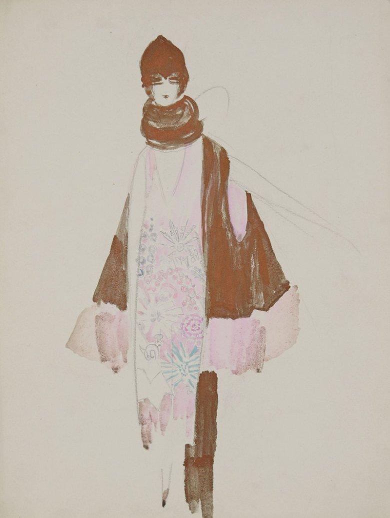 Projekt sukni, peleryny i nakrycia głowy, ok. 1930