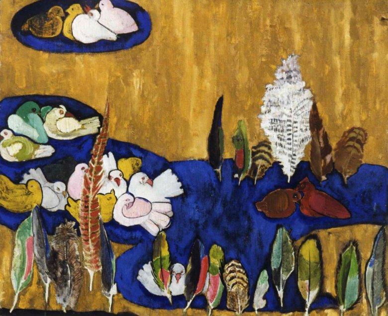 Sara Lipska, Pejzaż z gołębiami, ok. 1915–1925, olej, płótno, Musée d'Art et d'Histoire de la Ville de Meudon