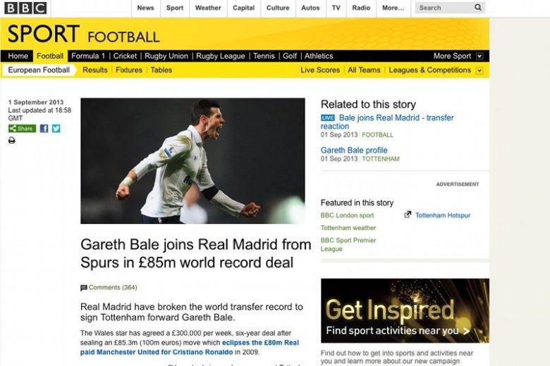 Gareth Bale pobił transferowy rekord świata przechodząc z Tottenhamu do Realu Madryt.