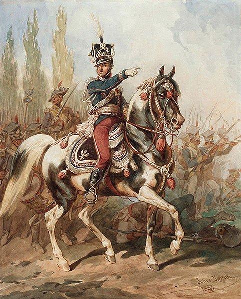 Gen. Jan Henryk Dąbrowski na czele Legionów Polskich we Włoszech.