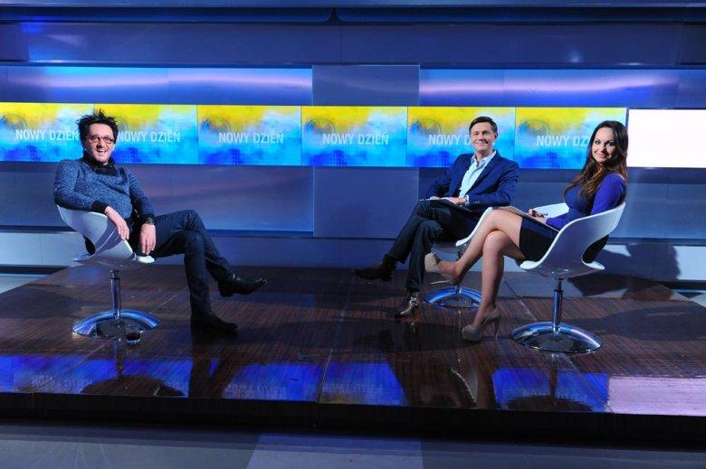Krzysztof Ibisz, Beata Cholewińska i Michał Wiśniewski w studiu
