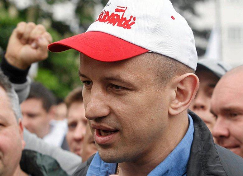 Tomasz Adamek podczas demonstracji górników w Katowicach, 2014 rok.