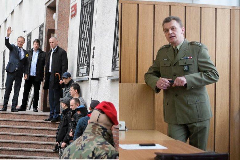 Donald Tusk przed przesłuchaniem ambitnego pułkownika Zarosy (po prawej). Zdjęcie oficera jeszcze z czasów gdy był kapitanem.