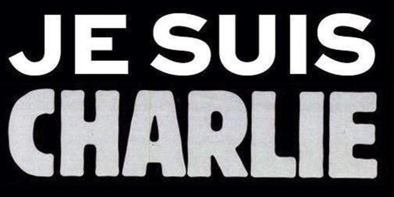 Hasło wyrażające solidarność z ofiarami ataku w Paryżu