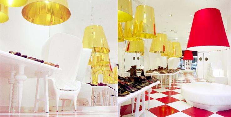 wnętrze butiku Camper w Mediolanie.