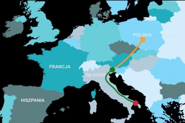 Droga jaką konie z Polski są transportowane do Włoch. Najpierw 20 godzin podróży do granicy włosko-słoweńskiej, następnie doba postoju i kolejne 12 godzin drogi na południe kraju.