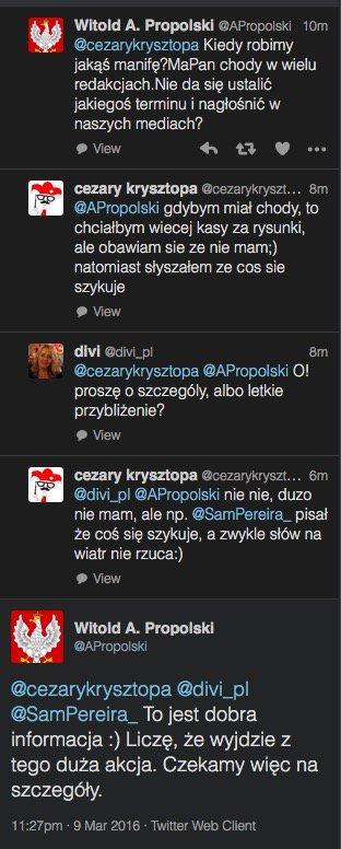 Zwolennicy PiS rozmawiają o zorganizowaniu manifestacji prorządowej.